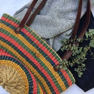 Handbags - Woven Market Bag. Leather Straps.